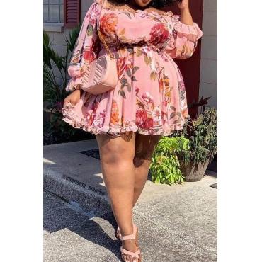 Lovely Trendy Floral Multicolor Plus Size Mini Dress