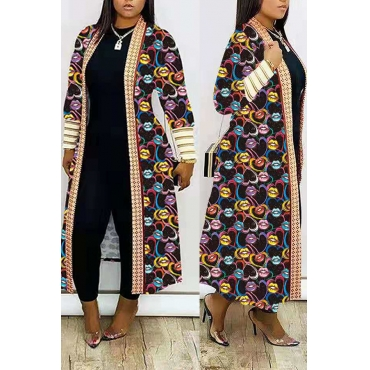 Lovely Casual Print Multicolor Long Coat