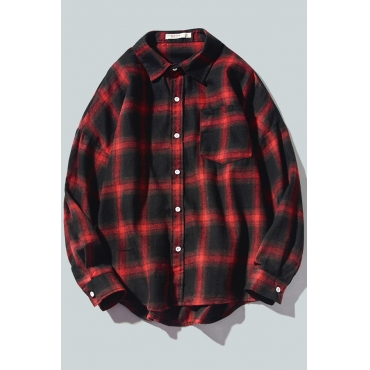 Lovely Casual Plaid Red Shirt