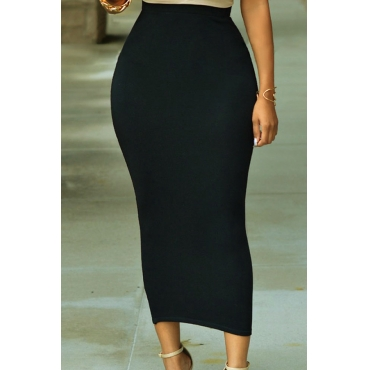 Lovely Casual Basic Skinny Black Mid Calf Skirt