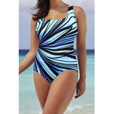 Lovely Chic Print Baby Blue Plus Size One-piece Swimwear
