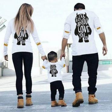 Lovely Family Letter Printed White Mother T-shirt