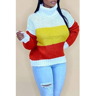Lovely Casual Turtleneck Striped Red Sweater