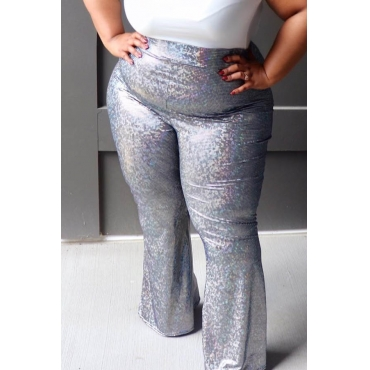 Lovely Casual Basic Silver Plus Size Pants