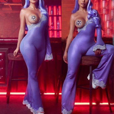 Lovely Sexy One Shoulder Purple One-piece Jumpsuit