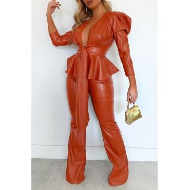 Lovely Trendy Flounce Jacinth Two-piece Pants Set