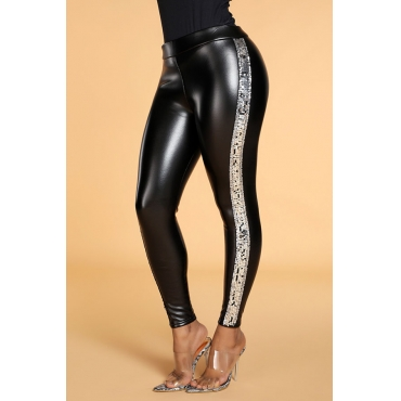 Lovely Casual Skinny Silver PU Pants