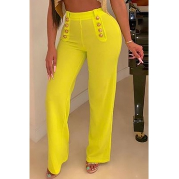 Lovely Casual Buttons Design Yellow Pants