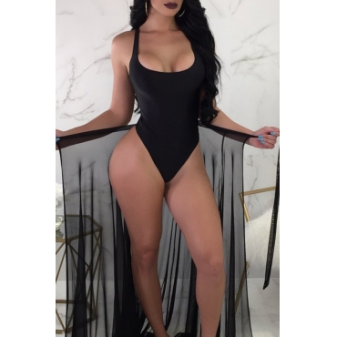 Lovely V Neck Skinny Black One-piece Swimwear(With Cover-up)