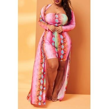 Lovely Leisure Print Multicolor Plus Size Two-piece Shorts Set