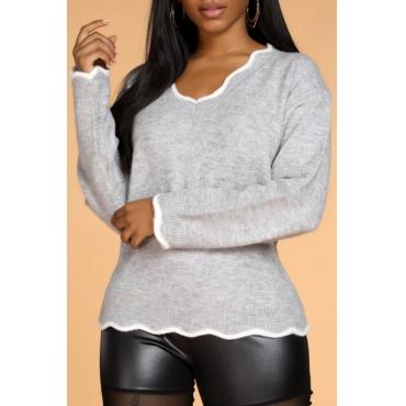 Lovely Casual V Neck Flounce Design Grey Sweater