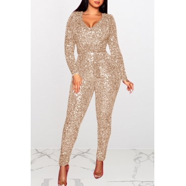 Lovely Sexy Skinny Gold One-piece Jumpsuit