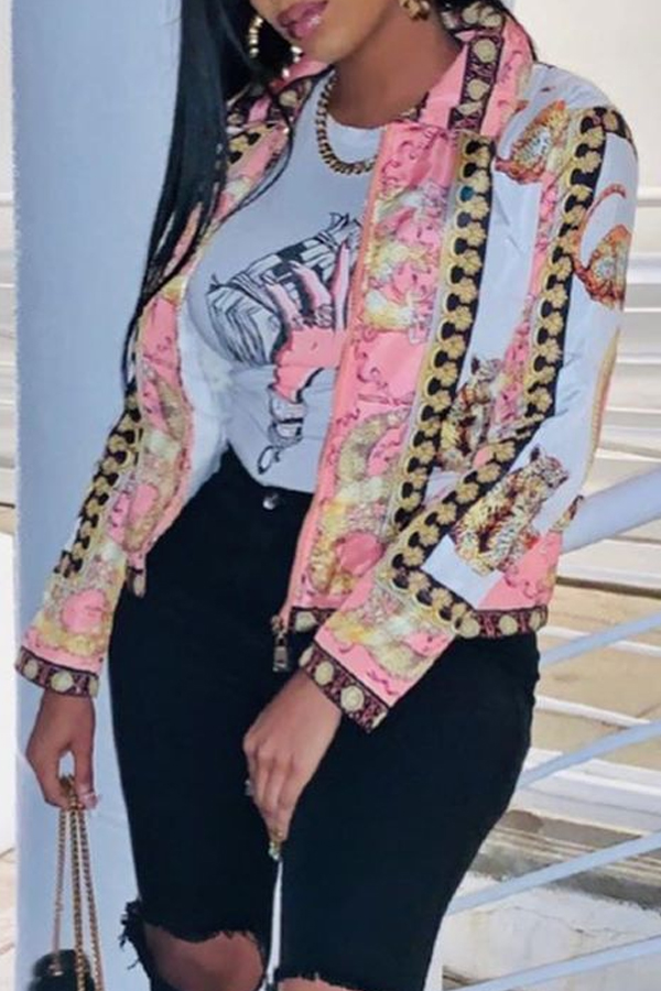 Lovely Casual Print Multicolor Coat