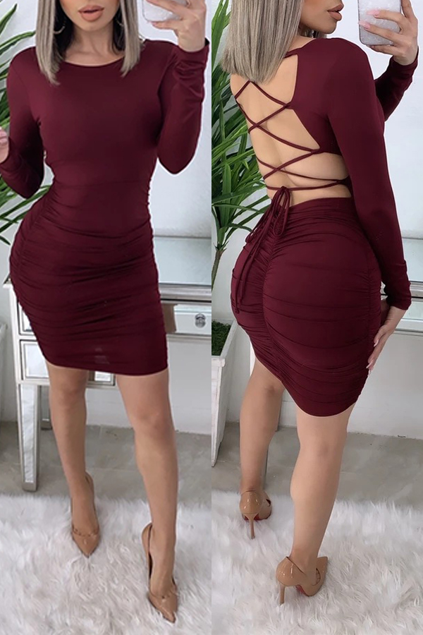 Lovely Chic Hollow-out Wine Red Mini Dress