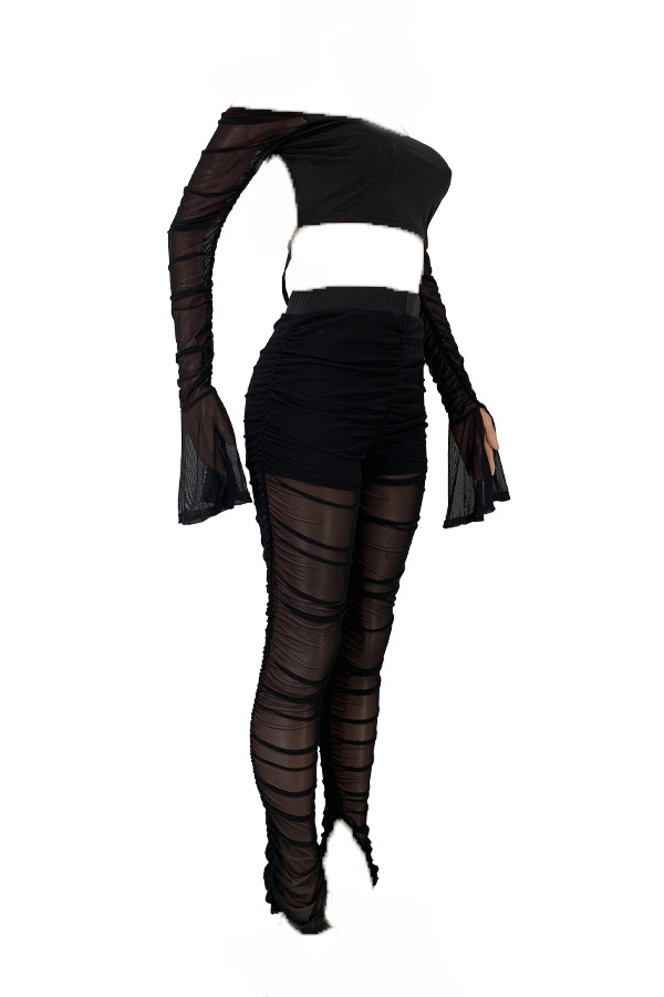 Lovely Sexy Dew Shoulder See-through Black Two-piece Pants Set