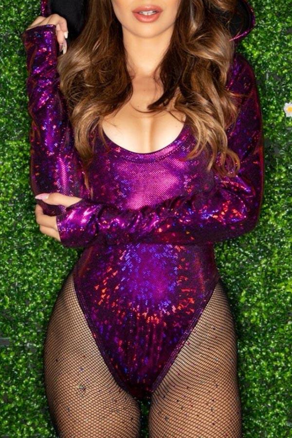 Lovely Casual Sequin Skinny Purple Bodysuit