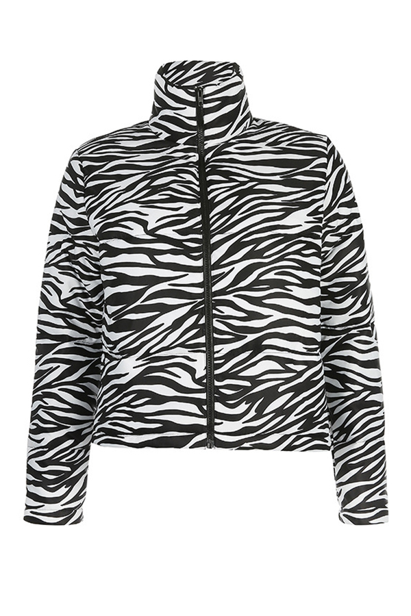 Lovely Casual Striped Black And White Winter Coat