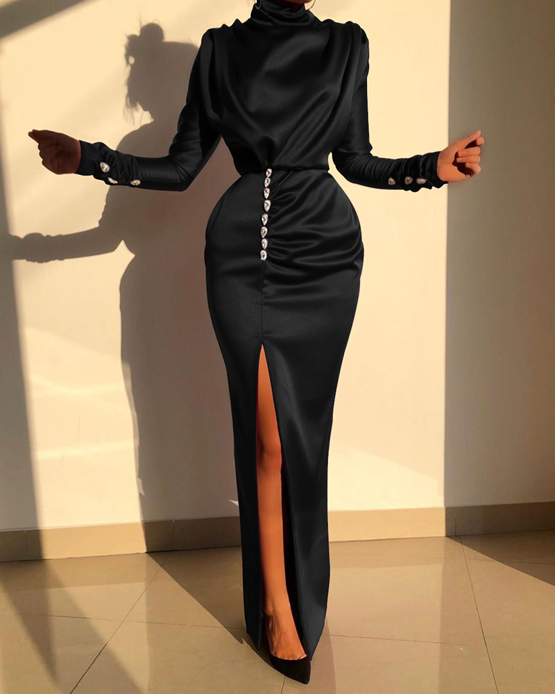 Lovely Party Turtleneck Slit Black Prom Dress
