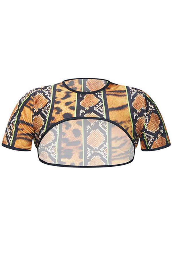 Lovely Leopard High-Leg Plus Size Bikini Top(Top Only)