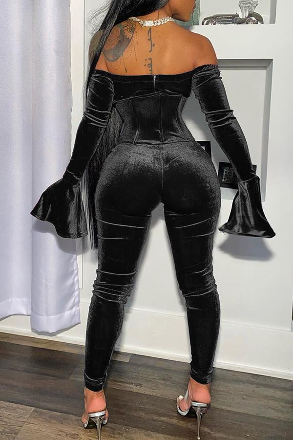 Lovely Party Dew Shoulder Black Two-piece Pants Set