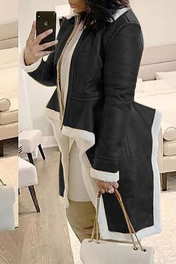 Lovely Casual Asymmetrical Patchwork Black Coat