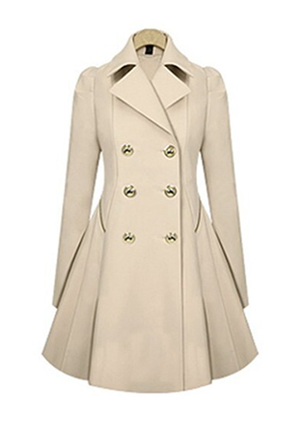 lovelywholesale / Cheap Coat&Jacket Lovely Casual Buttons Design Beige Coat