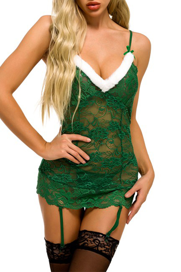 Lovely Christmas Day Lace Green Babydolls