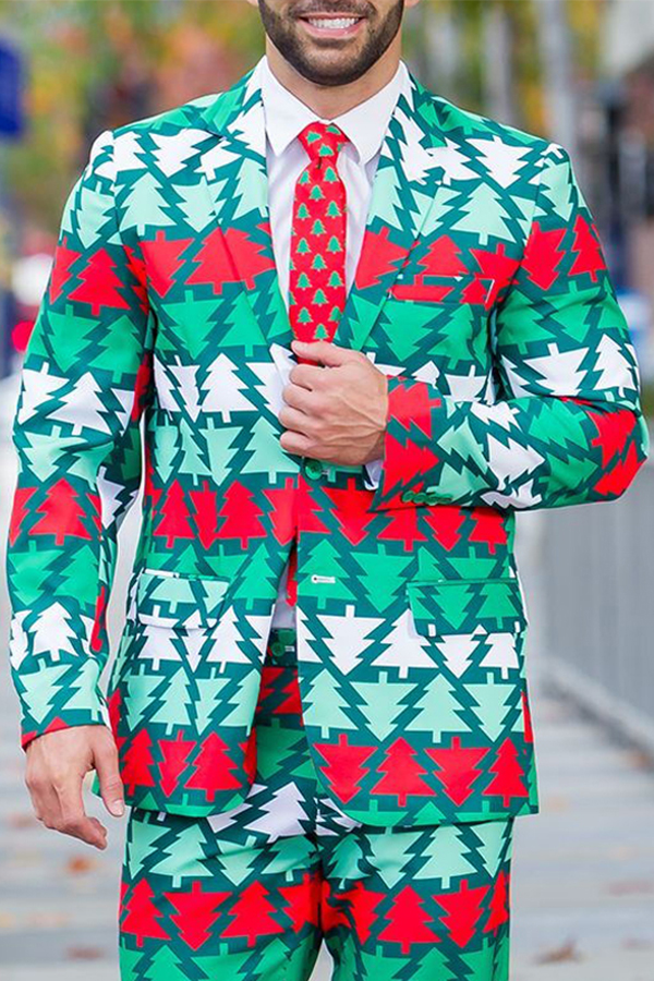 Lovely Christmas Day Print Green Formal Wear