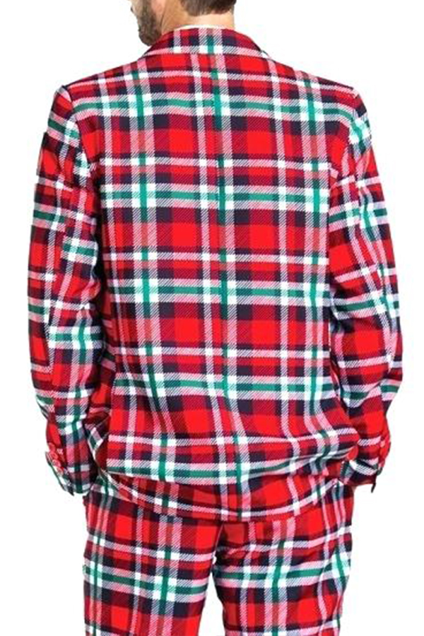 Lovely Christmas Day Plaid Print Red Formal Wear