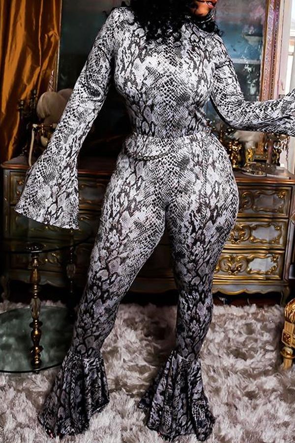 Lovely Chic Flounce Snakeskin Print One-piece Jumpsuit