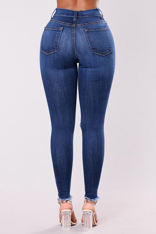 Lovely Chic Broken Holes Deep Blue Jeans