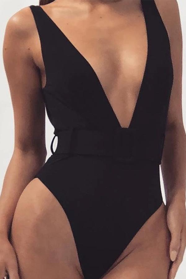 Lovely Deep V Neck Black One-piece Swimsuit