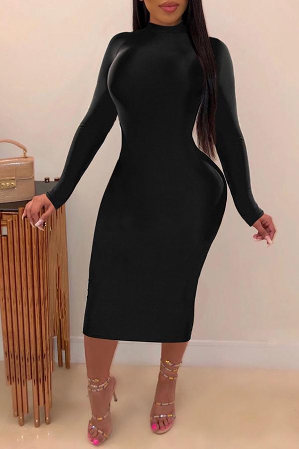 Lovely Trendy Mandarin Collar Backless Black Mid Calf Dress