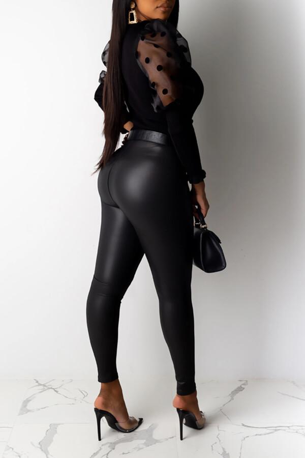 Lovely Sweet Dot Patchwork Black Blouse