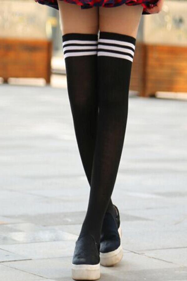 Lovely Casual Striped Black Socks
