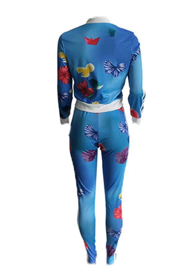 Lovely Casual Floral Printed Blue Twilled Satin Two-piece Pants Set