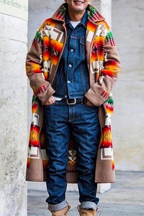 Lovely Bohemian Patchwork Khaki Trench Coat
