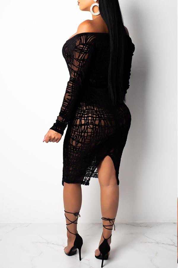 Lovely Trendy See-through Black Knee Length Dress