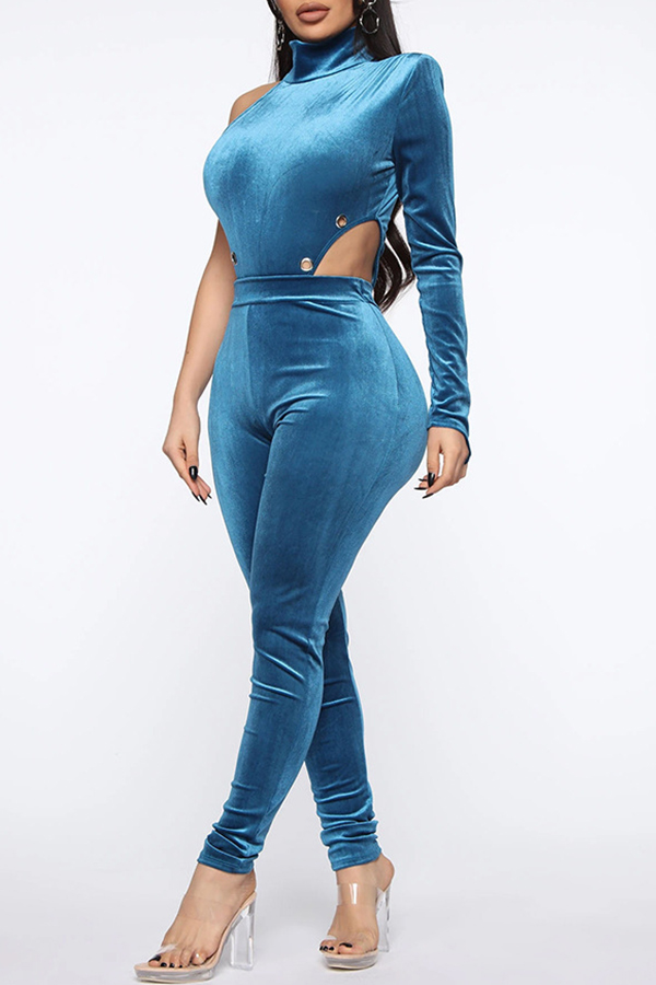 Lovely Leisure One Shoulder Blue Two-piece Pants Set