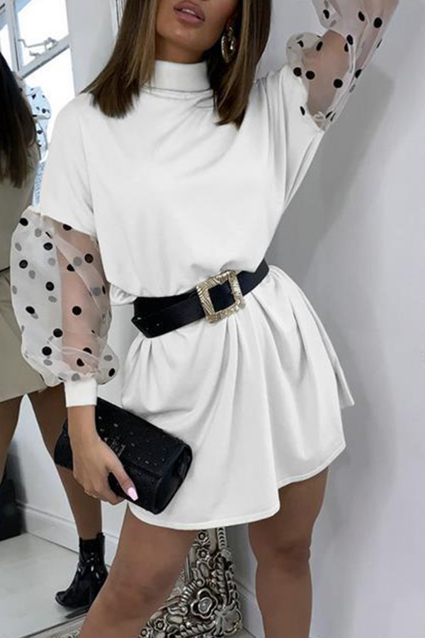 Lovely Sweet Dot Print White Mini Dress