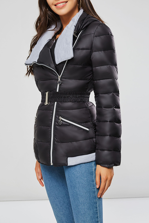 Lovely Casual Zipper Design Black Coat