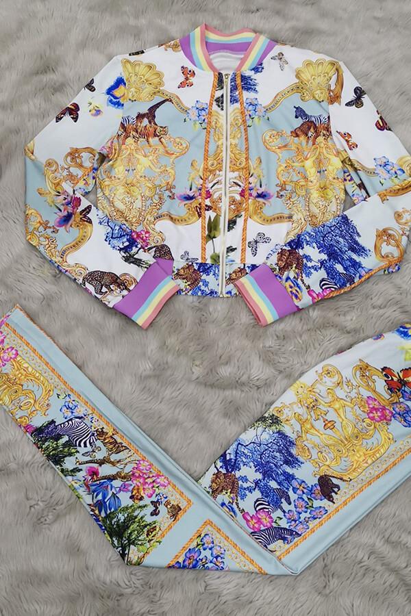 Lovely Party Zipper Design Multicolor Pants Set