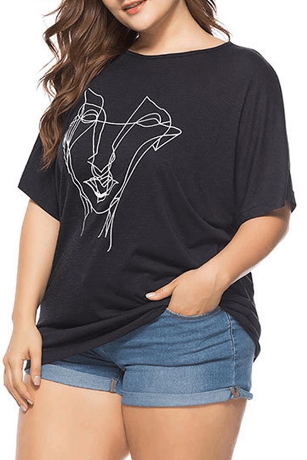 Lovely Casual Print Basic Black Plus Size T-shirt