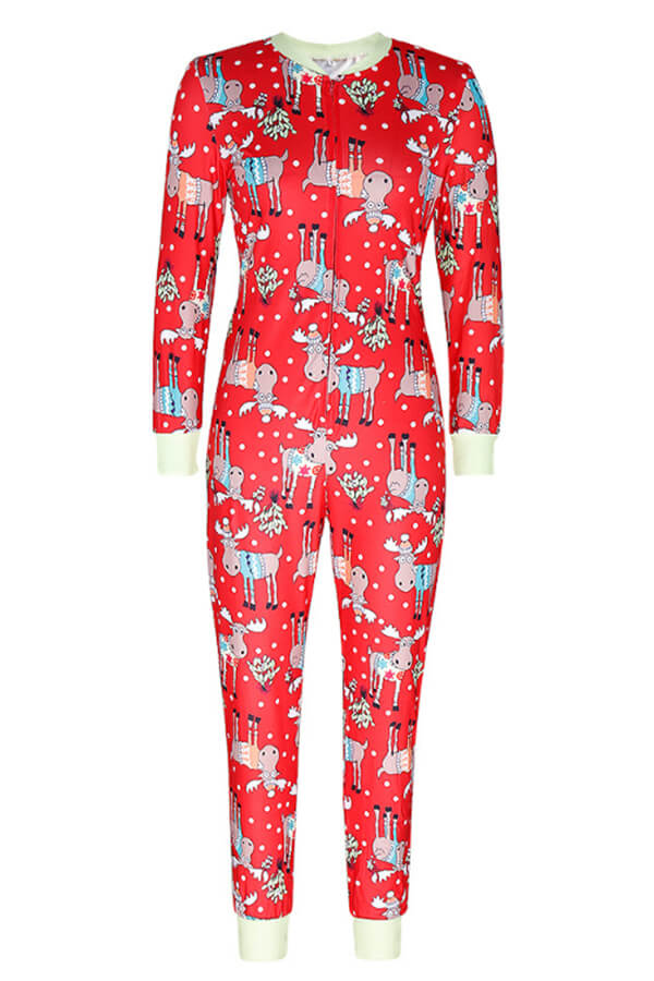 Lovely Christmas Day Printed Red One-piece Jumpsuit
