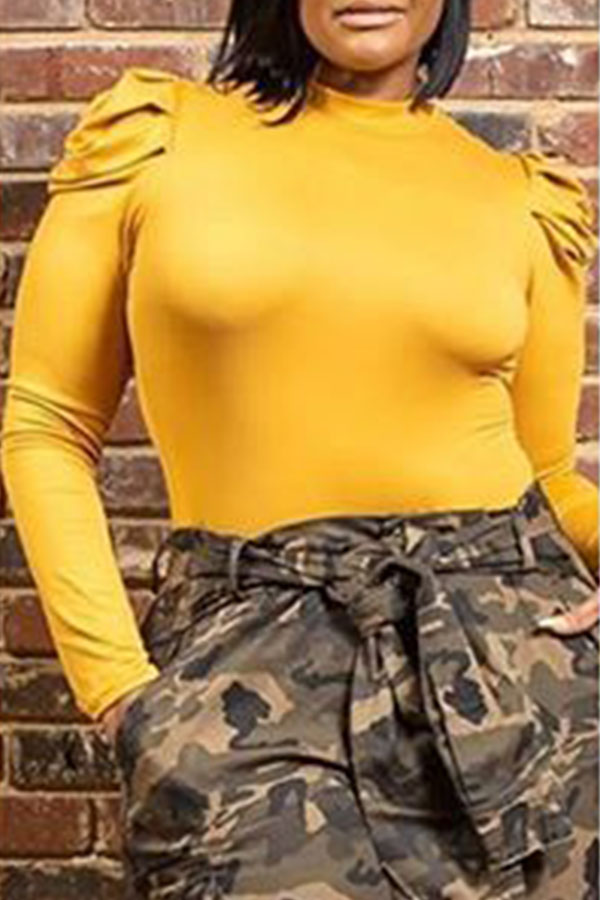 Lovely Casual Ruffle Design Yellow Plus Size Blouse
