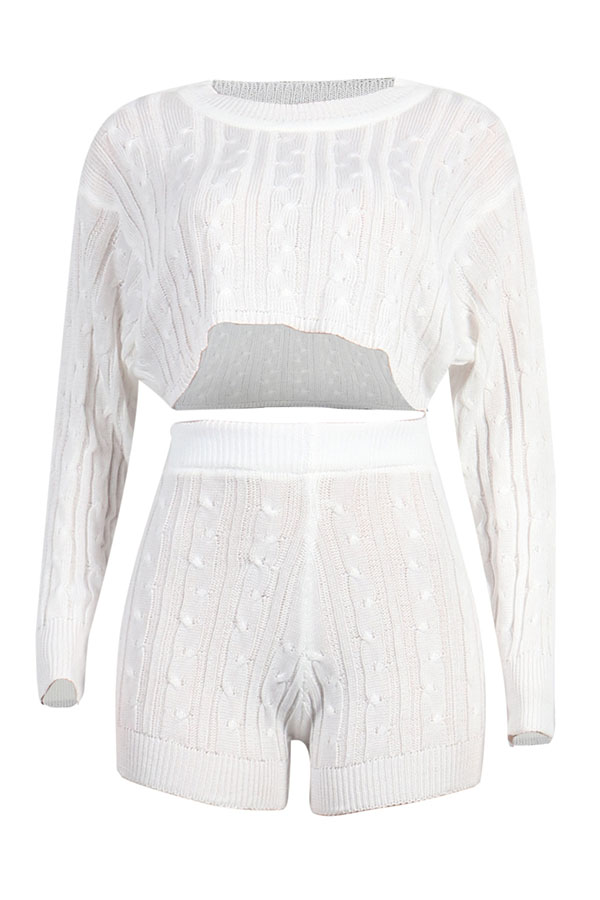 Lovely Casual Crop Top White Two-piece Shorts Set