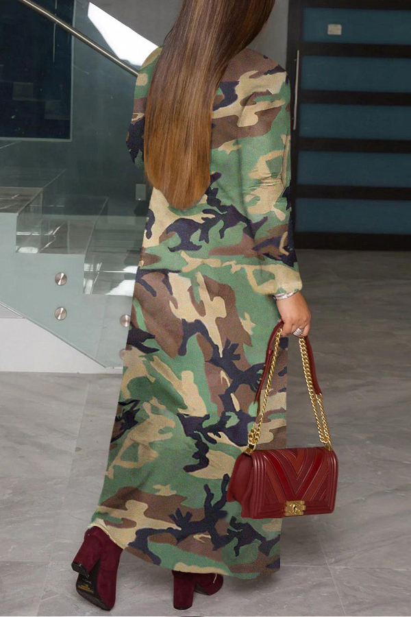 Lovely Casual Print Camo Army Green Coat