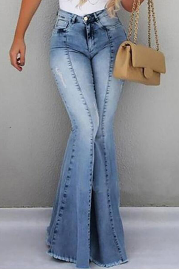 Lovely Casual Flared Blue Jeans