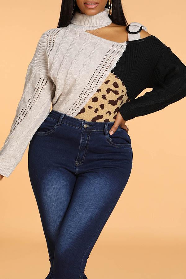 Lovely Leisure Turtleneck Patchwork Black Sweater