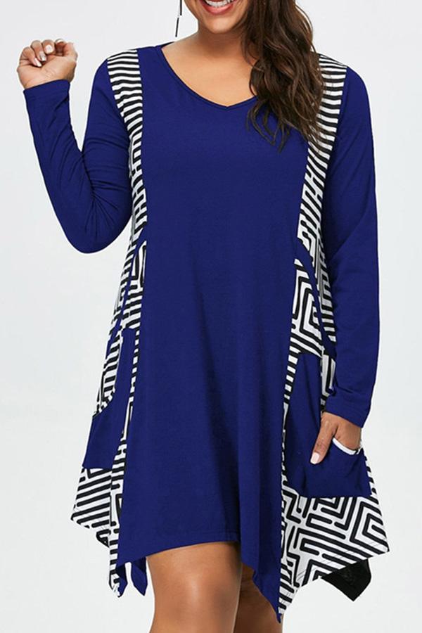 lovelywholesale / Cheap Plus Size Dress Lovely Casual Print Loose Blue Plus Size Mini Dr